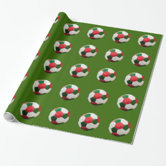 Soccer Green and Red Wrapping Paper