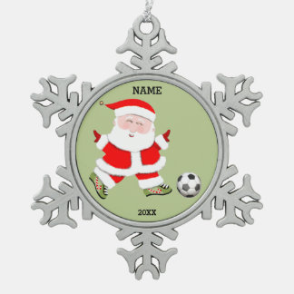 soccer holiday pewter snowflake decoration