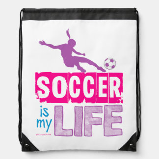 Soccer Is My Life Drawstring Bag
