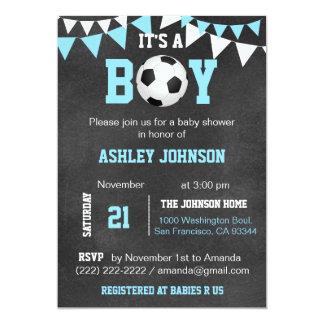 Soccer It's a Boy Baby Shower Chalkboard Blue Boy Card