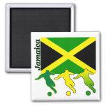 Soccer Jamaica Square Magnet