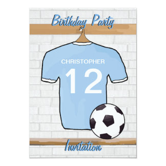 Soccer Jersey Sky Blue and White Birthday Party Personalized Invitations