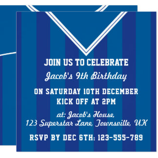 Soccer Jersey Themed Party Invites, Football, Blue Card