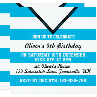 Soccer Jersey Themed Party Invites Template, Blue
