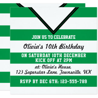 Soccer Jersey Themed Party Invites Template, Green