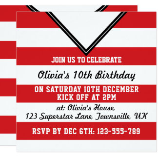 Soccer Jersey Themed Party Invites Template, Red