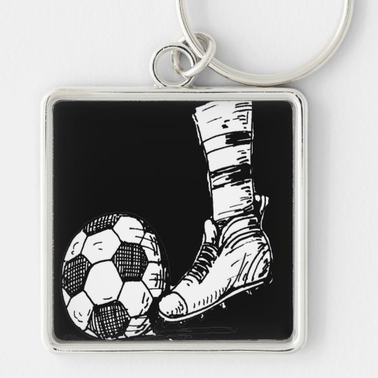 SOCCER KICKER BLACK AND WHITE Silver-Colored SQUARE KEY RING