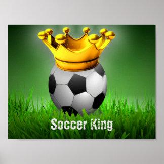 Soccer King Soccer Ball Crown Poster