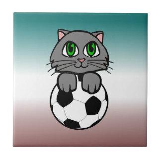 Soccer Kitten Small Square Tile