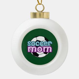 Soccer Mom Ceramic Ball Christmas Ornament