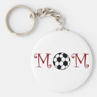 Soccer Mom Keychain, Red Basic Round Button Key Ring