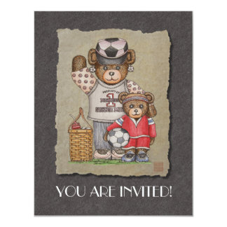 Soccer Mom & Kid Bears 11 Cm X 14 Cm Invitation Card