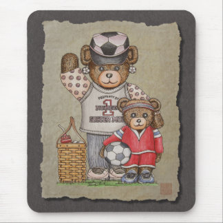 Soccer Mom & Kid Bears Mouse Pad