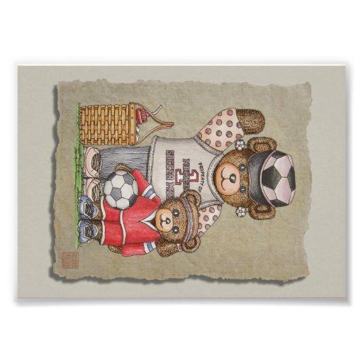 Soccer Mom & Kid Bears Photo Print