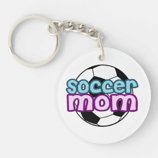 Soccer Mom Single-Sided Round Acrylic Key Ring