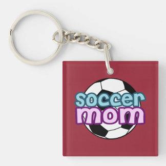 Soccer Mom Single-Sided Square Acrylic Key Ring
