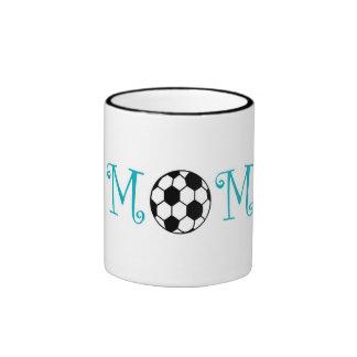 Soccer Mom, Teal Blue Ringer Mug
