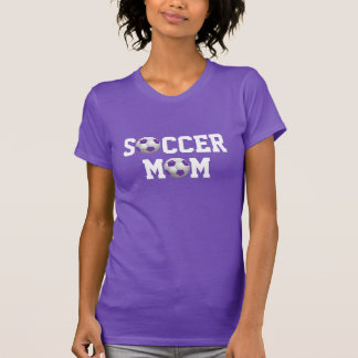 Soccer Mom v2 Soccer Ball Purple and White T-shirts