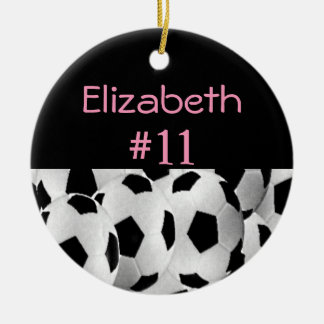 Soccer Name Number Pink Christmas Ornament