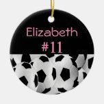 Soccer Name Number Pink Round Ceramic Decoration