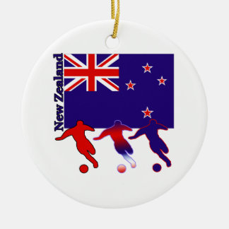 Soccer New Zealand Round Ceramic Decoration