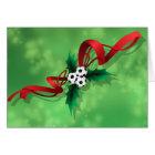 Soccer or Football Holly Christmas Card