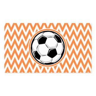 Soccer Orange and White Chevron Business Cards