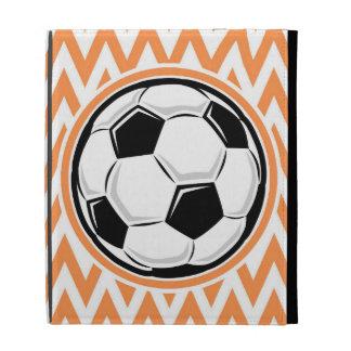 Soccer Orange and White Chevron iPad Folio Cover