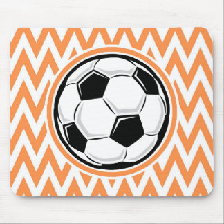 Soccer Orange and White Chevron Mousepads