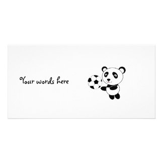Soccer panda personalized photo card