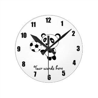 Soccer panda round clock