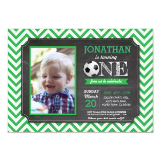 Soccer Party Foot ball 1st Birthday Photo Invite
