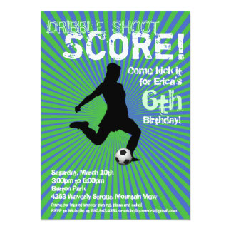 Soccer Party Invitation - Girl, Green and Blue