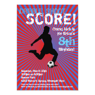 Soccer Party Invitation - Girl, Red and Blue