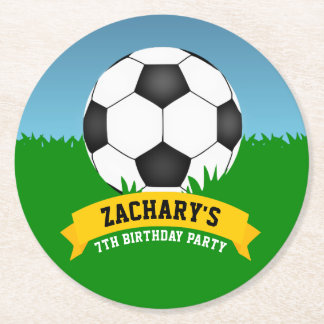 Soccer Party Round Paper Coaster