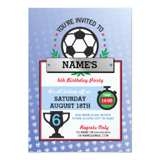 Soccer Party Sports Birthday Blue Invitations