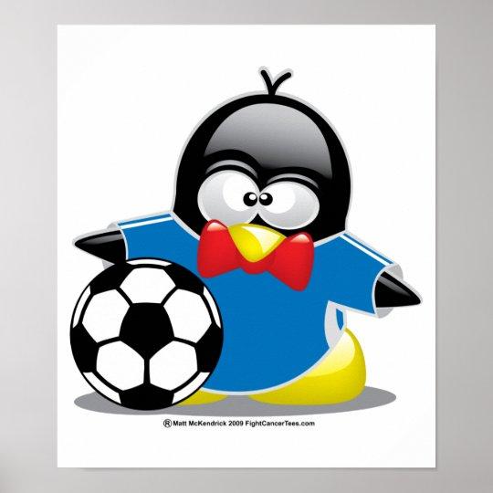 Soccer Penguin Poster