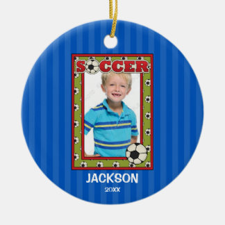 Soccer Photo Frame Kids Personalized Christmas Christmas Ornament