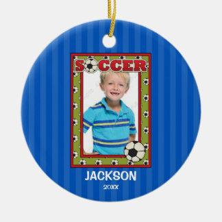Soccer Photo Frame Kids Personalized Christmas Round Ceramic Decoration
