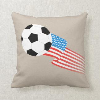 Soccer Pillow: Beige USA Cushion