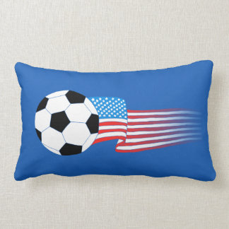 Soccer Pillow: Navy USA Lumbar Cushion