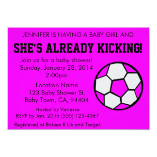 Soccer Pink Baby Shower Invitation, Customizable Card
