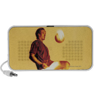 soccer player bouncing ball off knee iPod speaker