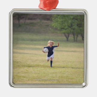 Soccer player cheering and yelling christmas ornament