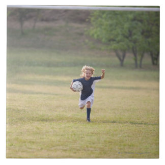 Soccer player cheering and yelling large square tile