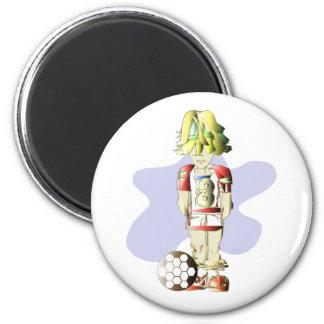 Soccer Player Digital Art 6 Cm Round Magnet
