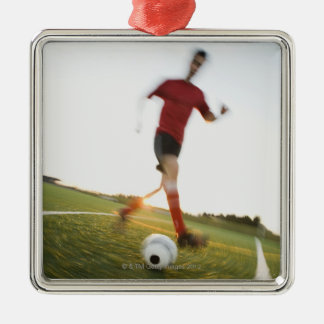 Soccer player dribbling ball Silver-Colored square decoration
