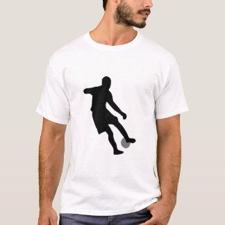 Soccer player dribbling silhouette art T-Shirt