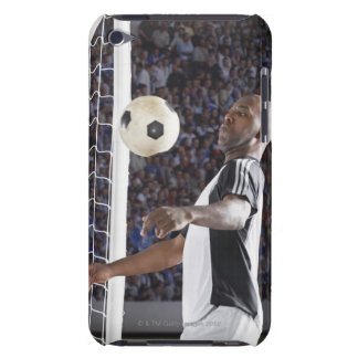 Soccer player facing mid air ball in goal mouth barely there iPod covers