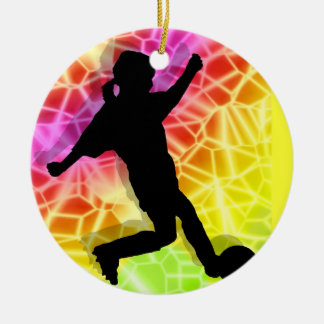 Soccer Player & Fluorescent Mosaic Christmas Ornament